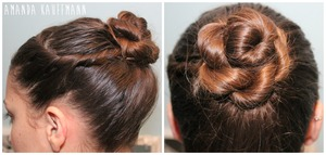 1. Section off hair from the back of the ear to the front. 2. Secure the rest of the hair into a ponytail.  3. Start rope braiding process (http://www.youtube.com/watch?v=GRfCnIHwlHo <Step by step instructions by LuxyHair) 4. Begin twisting the front section in an outwards motion (away from face) towards the ponytail. 5. Wrap and pin the front section to the ponytail. 6. Begin twisting the rope braid to form a bun shape then pin.  Hope this helps! Comment if you need further instructions (: