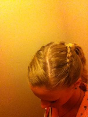 Top 3 Lace braids, finished in a ponytail with a lace braid spiral,