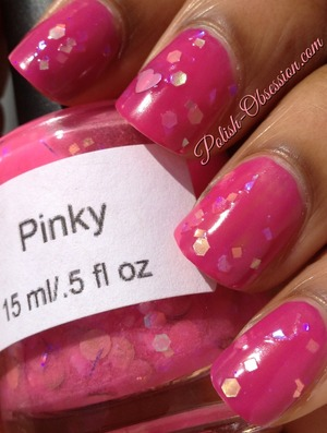 Layered over Barry M Fuschia http://www.polish-obsession.com/2013/05/neener-neener-nails-swatches-and-review.html