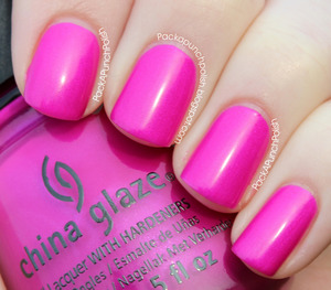 Beach Cruise-R is a bright pink/purple fuchsia with shimmer. It's part of the Summer Neons Collection. This is 2 coats without top coat.  Full Blog Post: http://packapunchpolish.blogspot.com/2012/11/china-glaze-beach-cruise-r.html
