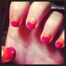 Pink and orange nails