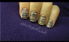 Striped Nail Art (using dental floss!)