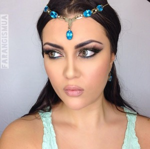 """A basic middle eastern makeup look. You can create this look featuring Jazmin from Aladdin (Walt Disney) cartoon. By the way the jewelry is real blue topaz. The details are on the previous picture """"spring shimmer cut crease""""."""