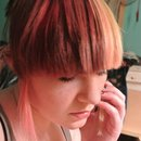 Red and yellow split bangs