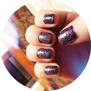 Revlon Scandalous and Wet N' Wild Sparkled (I cut my nails very short for violin)