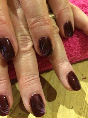 Gel Nail Polish, Red Carpet Manicure, Burgundy with White and Red nail art
