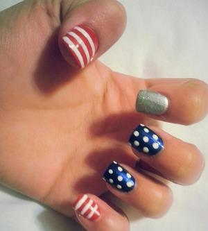 polished over acrylic american flag theme