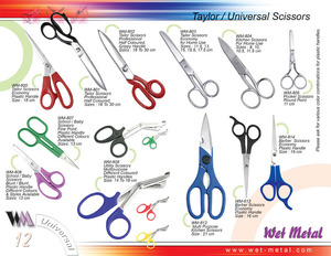 Variety of Tailor and universal scissors are being manufactured at Wet Metal. All sorts of Scissors are avaialbe at Wet Metal in different Patterns, colours and sizes.