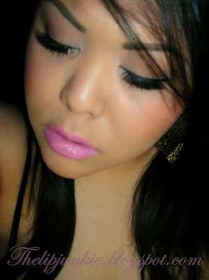 NYX Round Lipsticks in Narcissus & Power (mixed) topped lightly w/ Revlon's Pink Pop gloss