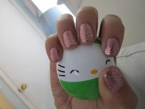 Pink Glitter nails ^_^