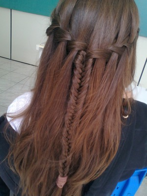 Waterfall Braid + Fishtail Braid
