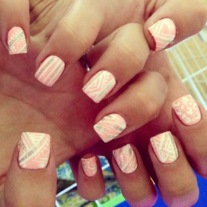 pink white silver glitter nails pretty girly