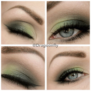 """Lid: """"Foxy"""" and """"Blackout"""" from naked palette 2 and """"Apres midori"""" from sleek makeup palette """"curacao"""" Crease: """"Tease"""" and a little of """"blackout"""""""