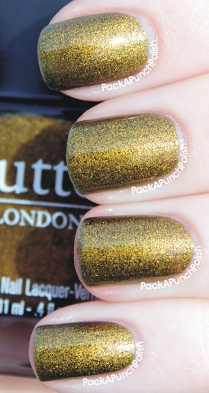 This is Butter London Wallis. This photo is 2 coats without top coat. It's a mix between an olive green and a gold metallic polish. Another polish perfect for fall!  The full blog post with more pictures: http://packapunchpolish.blogspot.com/2012/10/butter-london-wallis.html