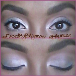 I got inspired by this look on Pinterest. It was a very light blue outer eye with a gold inner eye.