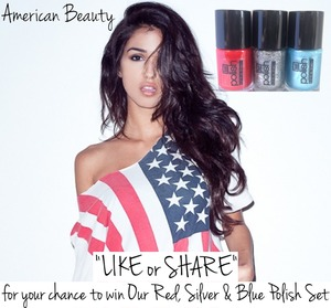 """""""LIKE or SHARE"""" for your chance to win our Red, Silver & Blue #Nailpolish set by #Hoof!!!!! #OnyxBrands #Giveaway #Beauty #American http://www.facebook.com/onyxbrands http://www.onyxbrands.com"""