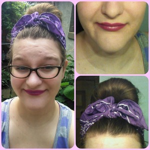 Trying out CoverGirl's Lip Perfection lipstick, Divine Divine. I think it's alright for a drugstore brand. We'll see how long it will last! It's got that same covergirl lipstick smell that I don't care for like a weird waxy crayon smell. It does go on smooth, and it's not drying! It's more of a warm purple than a cool, which didn't look like the bottom color on the outside at all. Which is sad because I like purples with darker tones. But now I have one with a warm tone! lol
