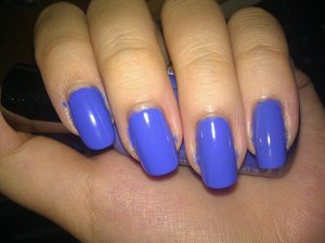 Oh I miss the days where my nails were so long and pretty. This is another Sally Hansen color, it's called Pacific Blue. Isn't it gorgeous? It's a nice creme cornflower blue. It isn't as purple as my picture display it but it's still lovely none the less.