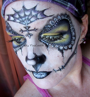 Fancy Purple and Yellow Sugar Skull Ms VersZsatile