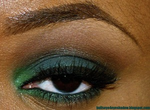 Used MAC Sassy Grass in te outer corner on top and bottom lid.