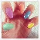 tapered nails, pastel polish!