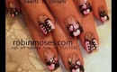 pink ruffle corset with pink and black hearts: robin moses nail art tutorial