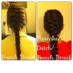 On the left is a regular French Braid. On the right is a Pancake/Dutch/French Braid.