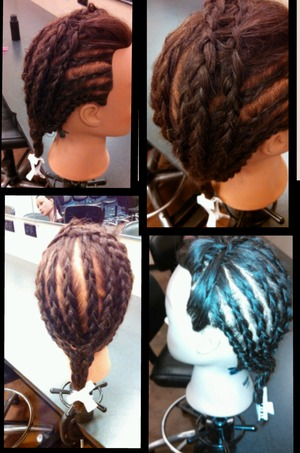 did reverse waterfall on top to get the poof of hair up front without braid, cornrows on side and down the back, and then took all the hanging braids and did a regular braid.  come like my page to see more hair, nails and makeup looks WWW.Facebook.com/hairmakeupandnailsbyashley