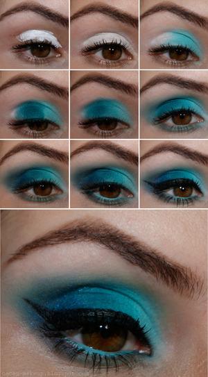Tutorial detalhado e info sobre os produtos usados http://cacau-makeup.blogspot.com.br/2013/03/tutorial-esfumadao-azul.html  http://www.facebook.com/cacaumakeup