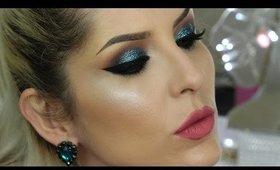 Makeup Tutorial Azul com Glitter por Claudia Guillen