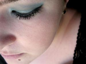 Simple light blue with eyeliner.