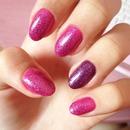 Glittered pink plus purple.