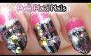 Pink & Black Punk Studded Stiletto Nails