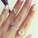 Acrylic nails & mid rings , rings