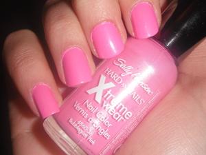 Sally Hansen Xtreme Wear- Bubblegum Pink.  Base for blue glitter swirls.