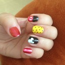Red black yellow Mickey Disney gel mani nails polka dots