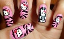 Cute Hello Kitty in Pink Zebra Nails