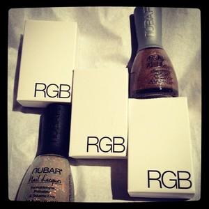 Thanks to Beautylish for the RGB nail polishes. I bought the Nubars on EBAY :)