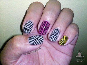 Check it out on and follow my tumblr page! http://pinkiegrey.com/post/35347927158/pseudotribal-an-attempt-at-doing-tribal-nails