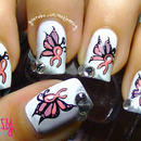 Unique Breast Cancer Awareness Butterfly Ribbon Nail Art