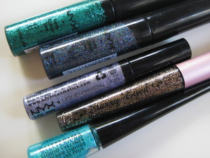 "nyx candy glitter liner ""jade"" / nyx candy glitter liner ""disco queen"" / nyx liquid crystal liner ""crystal pewter"" / too faced starry eyed glitter liner / annabelle glitterama glitter liner"