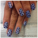 Blue with black polka dots