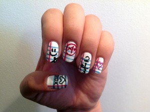 Last year's back to school nails I did for my kids. =D