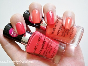 Wet n Wild Club Havana on middle and pinky Wet n Wild Heatwave on index and ring