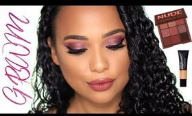 GRWM using the Huda beauty nude obsessions palette