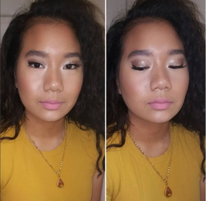 Brown softly Smoked Eye topped off with shimmery glitter and a soft pink lip.