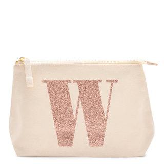 Rose Gold Glitter Initial Makeup Bag Letter W