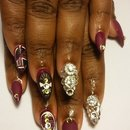 burgundy with bling nails