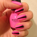 Neon pink with black strip