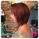 Textured inverted bob & red hot color